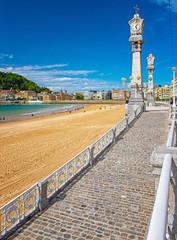Nice beach with the old town of San Sebastian, Spain.
