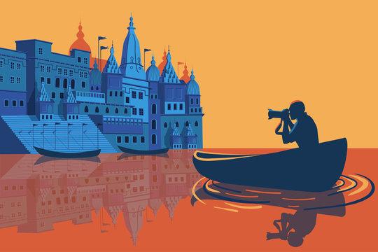 Cityscape of sunset Varanasi Uttar Pradesh, India, Ganges river. Vector Illustration