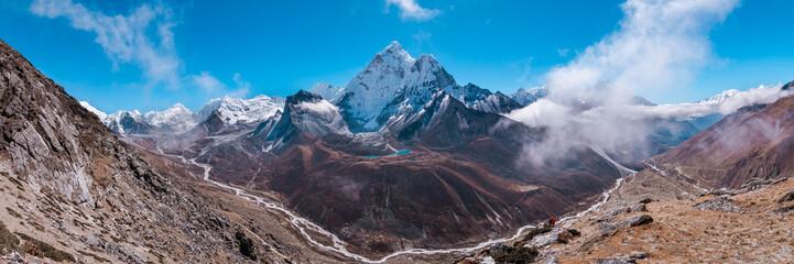 Panoramic view of Ama Dablam and Himalayan Mountains from Nangkar Tshang View Point, Dingboche, Sagarmatha national park, Everest Base Camp 3 Passes Trek, Nepal