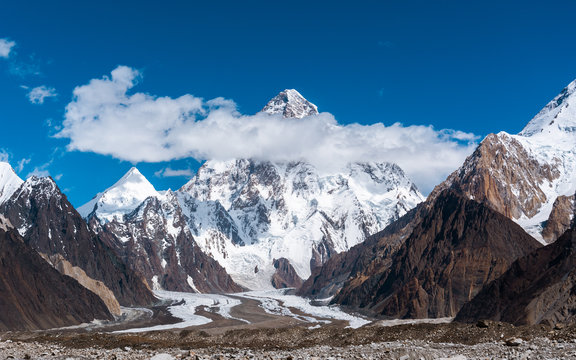 View of K2, the second highest mountain in the world with Upper Baltoro Glacier, Pakistan