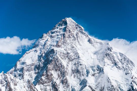 Close-up view of K2, the second highest mountain in the world, Pakistan