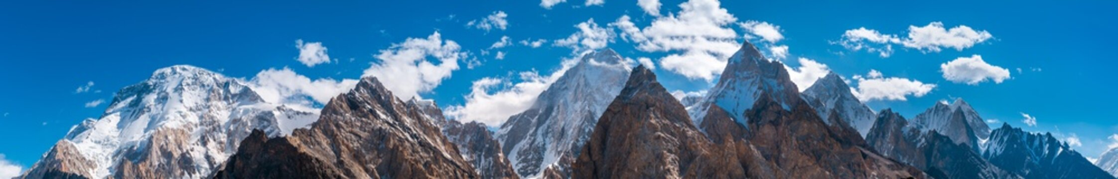 Panoramic view of Karakoram mountains range with Broad Peak, Gasherbrum (in the middle) from Vigne Glacier, on the way to Ali Camp, Pakistan