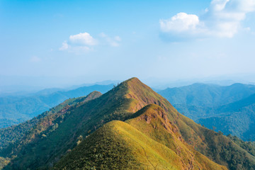 View from the top of Khao Chang Phueak Peak (1,249 meters in elevation), Thong Pha Phum National Park, Pilok, Kanchanaburi, Thailand