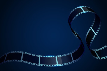 Realistic 3D cinema film strip in perspective. Film reel frame isolated on blue background. Vector template cinema festival with place for text. Movie design for brochure, poster, banner or flyer.