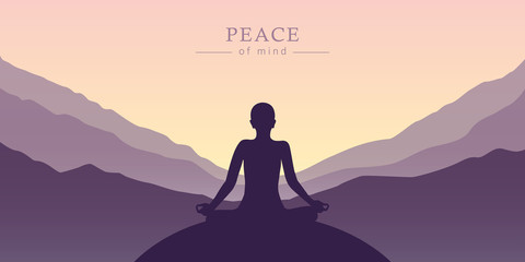 peace of mind meditation concept silhouette with mountain background vector illustration EPS10 Fototapete