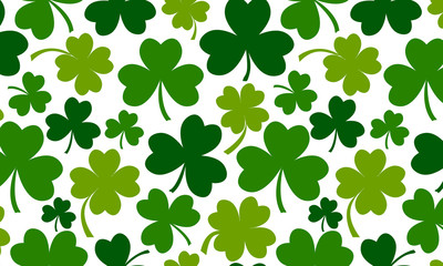 Spring green clover background for Saint Patricks Day. Vector illustration