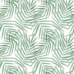 Spoed Fotobehang Tropische Bladeren Seamless pattern of exotic palm trees. Watercolor Green leaves on white background. Tropical leaf.