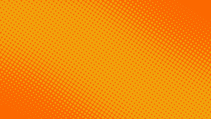 Bright orange pop art background in retro comic book style with halftone dot design, vector illustration eps10