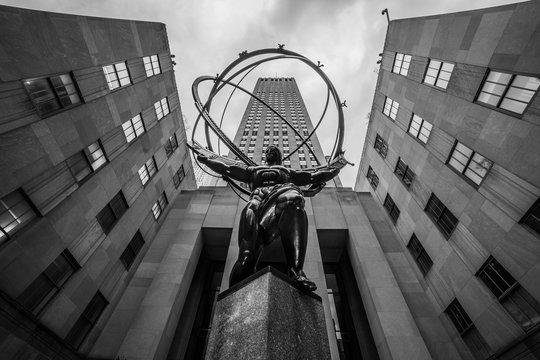 new York, USA - Circa March 2016 - the statue of atlas at the rockefeller center