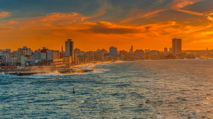 Poster Havana colorful old havana skyline cityscape in the sunset with the melecon and the sea, cuba