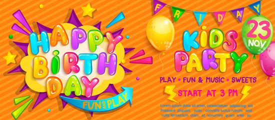 Invitation for kids party on birthday with welcome flags, balloons and burst with wishing happy birthday. Design template for celebration.Great for invitation flyers,posters,cards.Vector illustration.