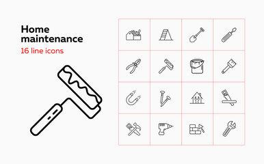 Home maintenance line icon set. Tool box, painting brush, wrench. Construction concept. Can be used for topics like housing housekeeping, renovation, repair