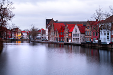 Buildings in Bruges (Belgium) reflecting in the Water