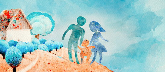 Happy family, watercolor concept background.