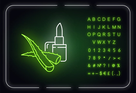 Vegan lip balm neon light icon. Organic lipcare with aloe vera. Cosmetic product. Outer glowing effect. Sign with alphabet, numbers and symbols. Vector isolated RGB color illustration