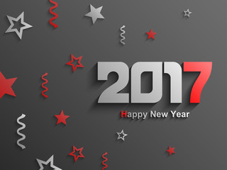 Happy new year 2017 abstract text design, Red ornaments and text, Vector Eps 10