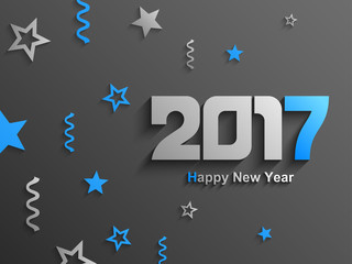 Happy new year 2017 abstract text design, Blue ornaments and text, Vector Eps 10