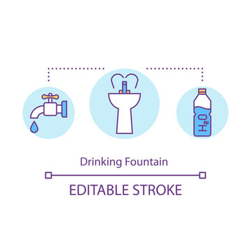 Drinking fountain concept icon. Money saving travel, budget tourism idea thin line illustration. Refilling own water bottle. Vector isolated outline RGB color drawing. Editable stroke