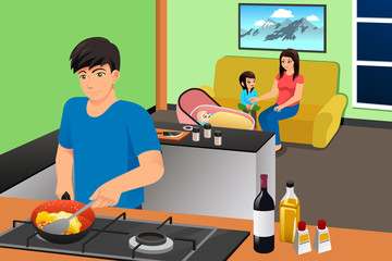 Father Cooking While Mother and Kids in the Living Room Illustration