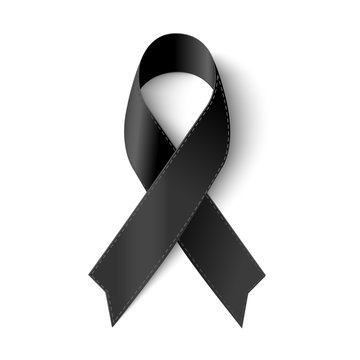 Vector Black awareness ribbon with stitch on white background for Mourning  symbol.  Vector illustration