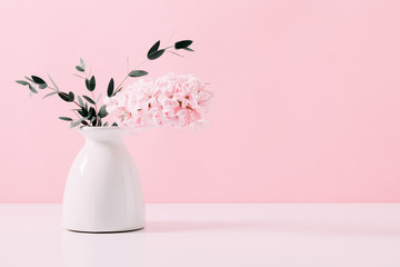 Pink hyacinth, eucalyptus on pink wall background. Spring flower hyacinth in vase on pink background.