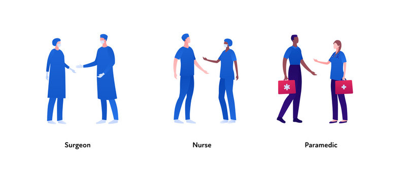 Medical profession people set. Vector flat person illustration. Group of male and female surgeons in mask, nurse and paramedic with first aid kit. Design element for banner, poster, background, print.