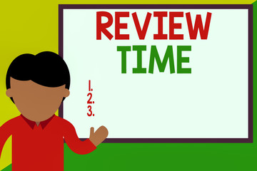 Conceptual hand writing showing Review Time. Concept meaning to think or talk about something again Set schedule to review Man standing front whiteboard pointing to project photo Art