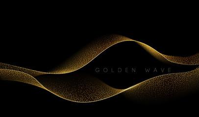 Abstract shiny color gold wave design element Fotobehang