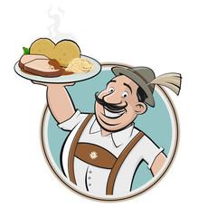 cartoon logo of a bavarian man with German dish schweinebraten