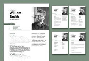 Resume and Cover Letter Layout with Dark Green Accents