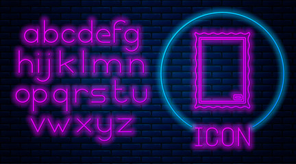 Glowing neon Picture icon isolated on brick wall background. Neon light alphabet. Vector Illustration