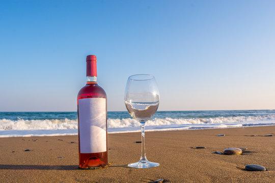 Bottle of wine on the beach