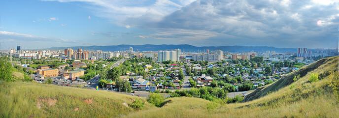 Panorama miasta Krasnojarsk w syberyjskiej części Rosji