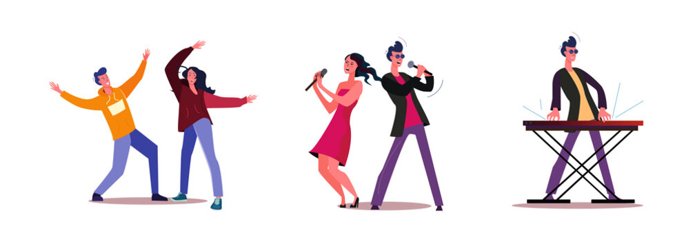 Set of people singing and dancing together. Flat vector illustrations of musician playing on keyboard. Music concert, performance, entertainment concept for banner, website design or landing web page