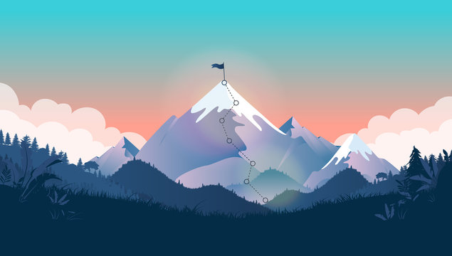 Goal on top of mountain - Mountain peak with flag on summit, and trail to the top. Beautiful landscape with forest and clouds. Business strategy, leadership, planning, and challenge concept.