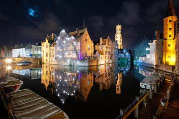 Cityscape of Bruges (Belgium) by Night, Belfry Tower