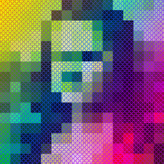 colorful woman portrait in pixel art style, psychedelic grid. Bright abstract retro futuristic digital background