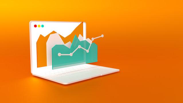 White notebook with stock market graph on orange background. Hi resolution rendered 3d illustration.