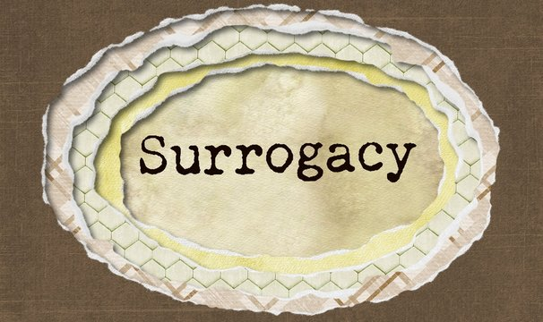 Surrogacy - typewritten word in ragged paper hole background - concept tattered illustration