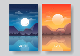 Day and night landscape illustration,mountain Landscape with moon,sun,tree,shooting star,lake vector-flat design  Fotobehang