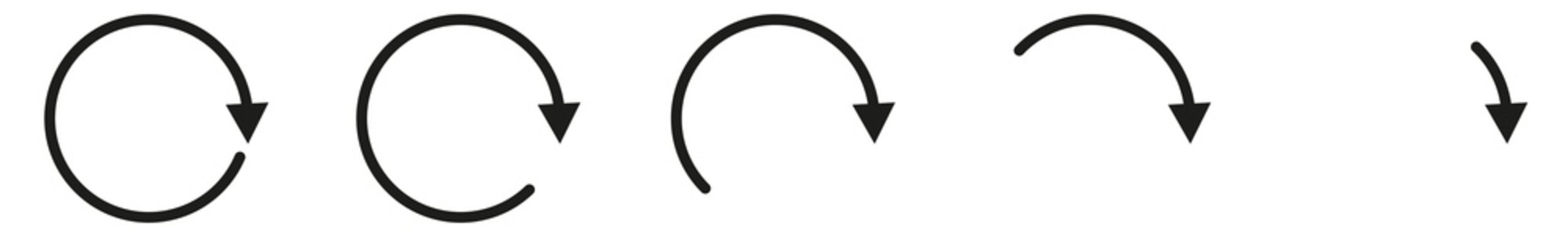 Arrow Icon Black | Circle Arrows | Infographic Illustration | Direction Symbol | Curved Loading Logo | Up Sign | Isolated | Variations
