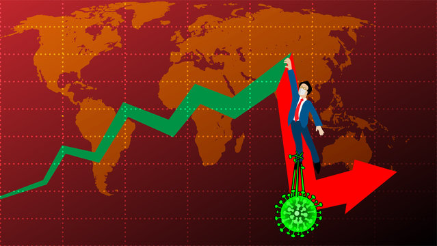 The cartoon infographic illustration picture of a sick businessman is pulled down by the green germs on the red falling graph. ( vector )