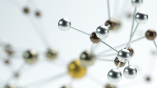 network of metal nodes, symbolizing a molecule