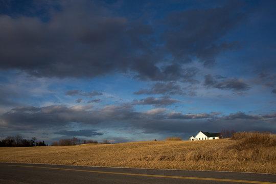 Vermont Dark Blue Sky in Winter