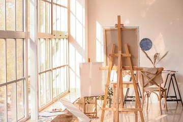 Interior of modern artist's room