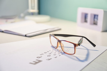 Photo sur Plexiglas Ecole de Danse Glasses with eye test chart on table in ophthalmology clinic
