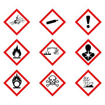 Flame, Exclamation Mark, Health Hazard, Skull & Crossbones, Exploding Bomb, Flame Over Circle, Corrosion, Gas Cylinder, Environment, symbol collections,Warning sign of Globally Harmonized System