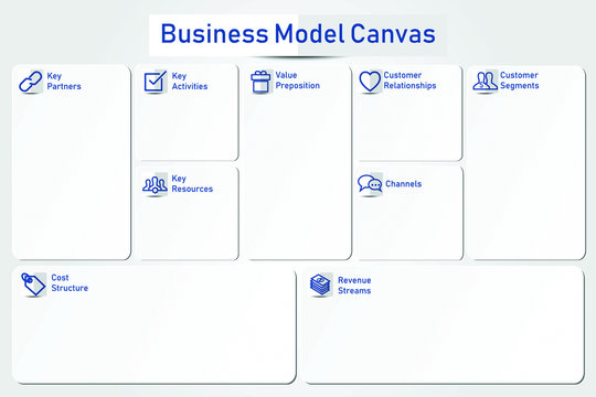 Illustration vector of bussiness model canvas with white paper origami style. Form for marketing.