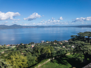 Lake Bracciano, a lake of volcanic origin in the Italian region of Lazio, near Rome. It is the second largest lake in the region and one of the major lakes of Italy.