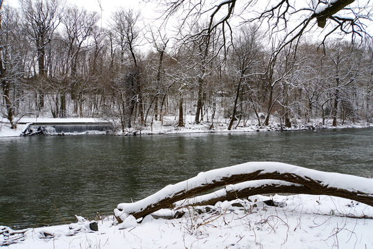 The view after a snowstorm in Brandywine Park, Wilmington, Delaware, U.S.A